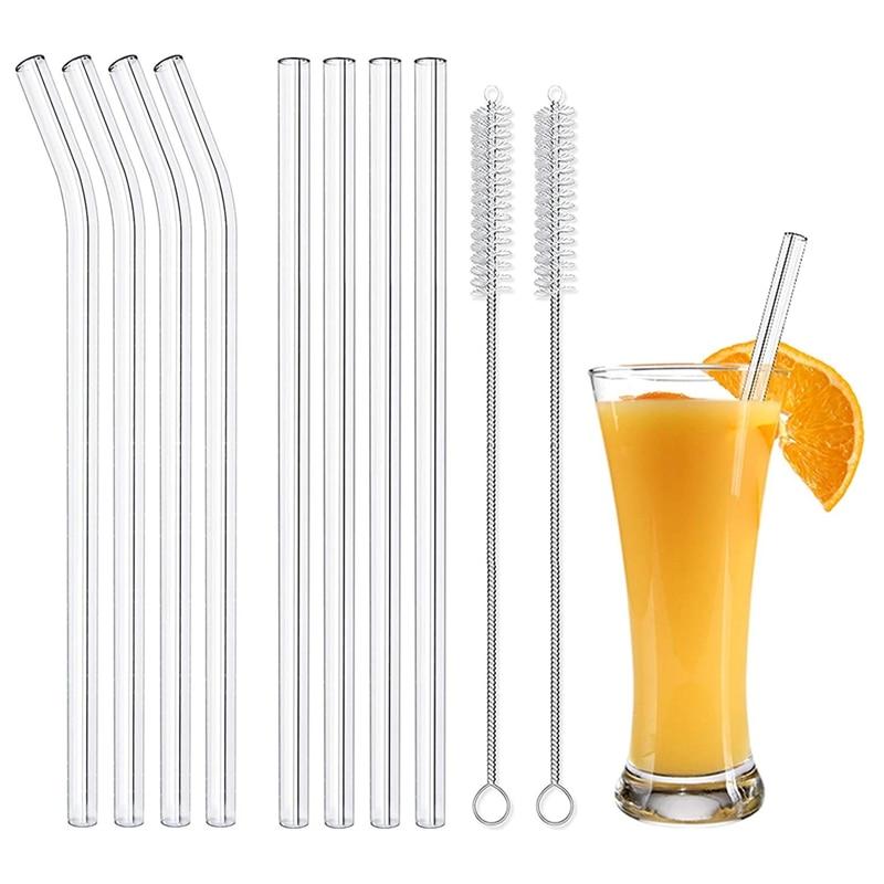 Многоразовые Стекло соломинки смузи соломинкой Для Молочных коктейлей замороженные напитки экологически чистые посуда набор соломинок