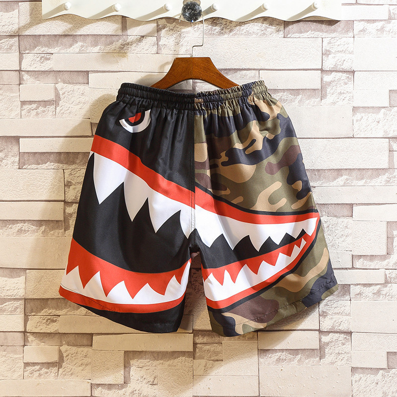 Men Summer Patchwork Shorts 2020 Mens Streetwear Hip Hop Casual Shark Polyester Colorful Sweat Big Size SA-8