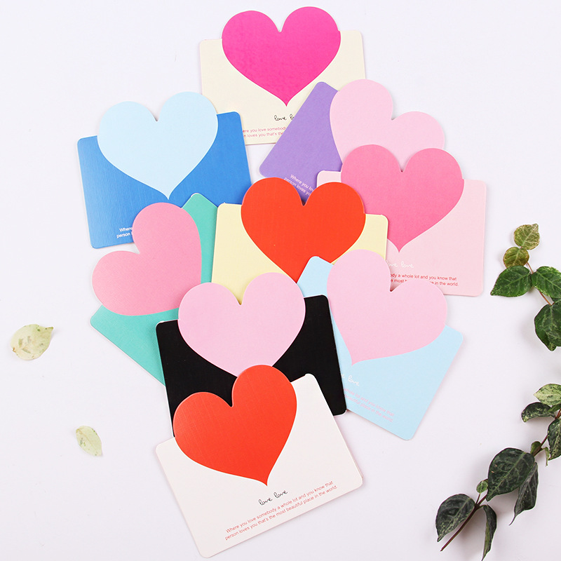 1pcs LOVE Hearts Handmade Heart Message Card DIY Valentine's Day Birthday Party Creative Greeting Cards Postcards New Year Party