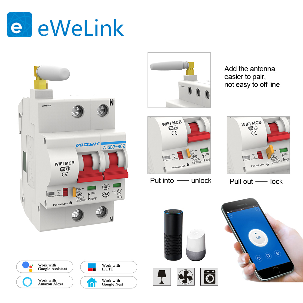 2P 20A WiFi disjoncteur intelligent automatique protection contre les surcharges et les courts-circuits pour Amazon Alexa et Google home