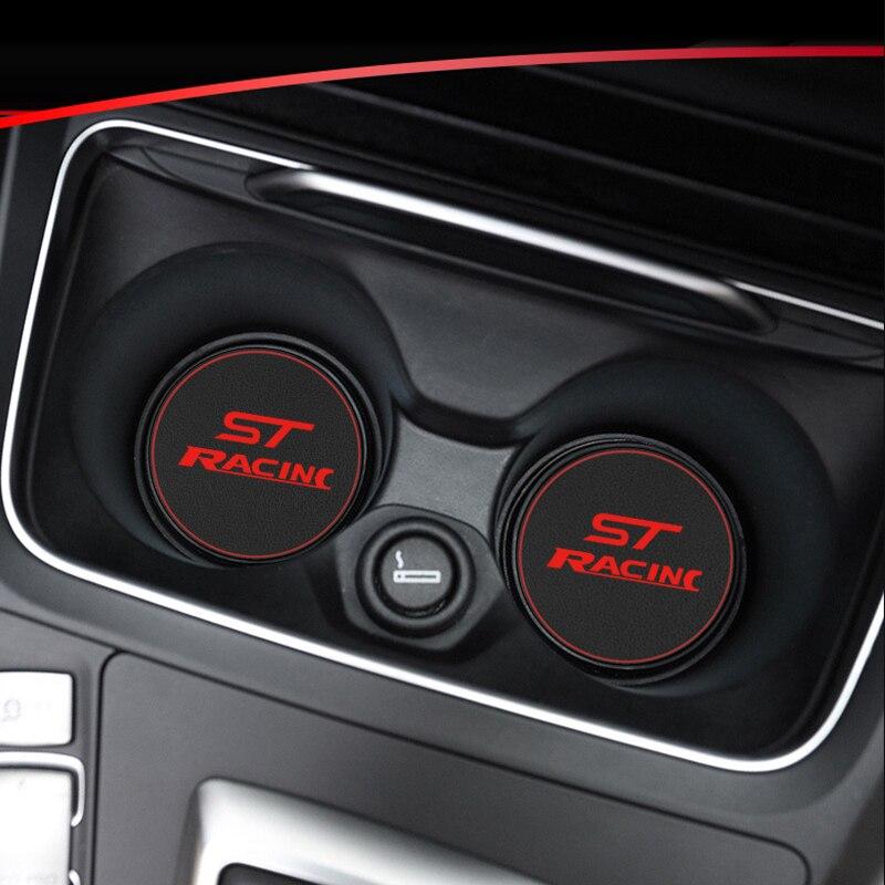 1 шт. автомобильный подстаканник, коврик, Кожаная подставка для воды, украшение для Ford ST RACING focus 2 focus 3 Fiesta, аксессуары для стайлинга автомобил...