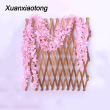 Xuanxiaotong 200cm Long Wisteria Flower Vine Silk Hydrangea Rattan Wedding Birthday Party Decor Wall Backdrop Artificial
