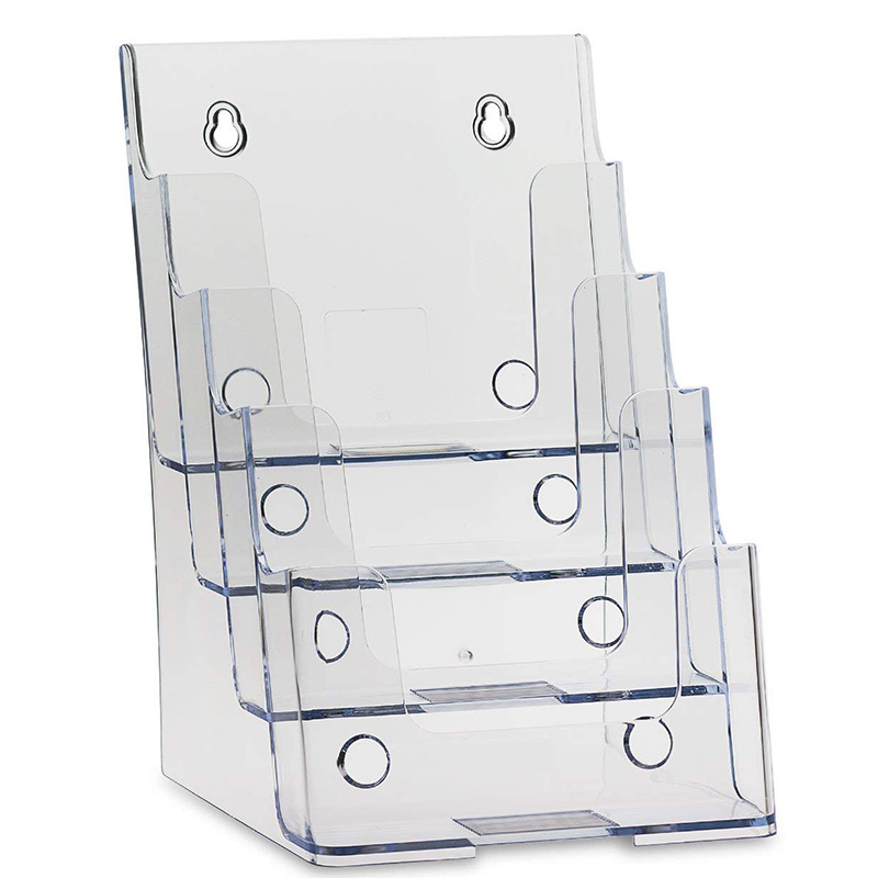 Clear 4 Tier Brochure Holder Literature Holders Flyer Holder Plastic Display Stand for 6 inch W X 9 inch H   Half Page   Materia   - title=