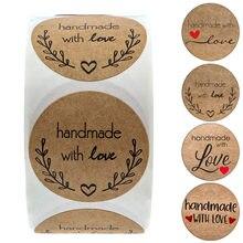 100-500 Pcs adesivi fatti a mano con amore adesivi in carta Kraft per pacchetto adesivo grazie adesivo sigillo etichette cartoleria