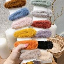 AOMU осень зима искусственный мех шпильки Твердые плюшевые женские заколки для волос BB клипсы геометрические капли заколки для волос аксессуары для волос