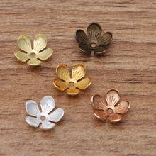 50 шт 10 мм шапочки для бусин в форме цветка Ретро бусины листьев