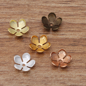 50pcs 10mm Flower Beads Caps Retro Leaf  Cap Accessories for Brooch Earrings Bracelet Hair DIY Jewelry Making Wholesale