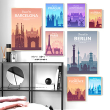 Abstract World Famous City Nordic Posters And Prints Wall Art Canvas Painting Cartoon Pictures For Baby Kids Room Decor