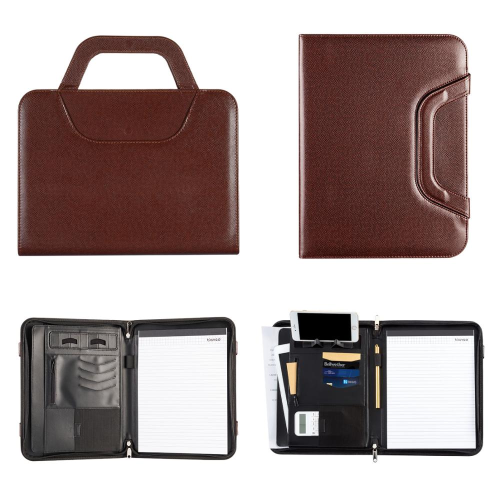 TIANSE A4 PU Leather Office Manager  Padfolio Fichario Document File Folder Binder Padfolio  Notebook Handle Zipper