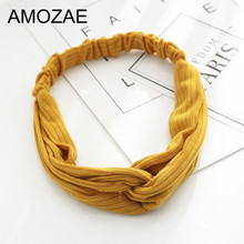 Bandanas Women Hairbands 2019 New Fashion Girls Vintage Knitting Twisted Knotted Headband Wide Hair Bands Headwear Accessories