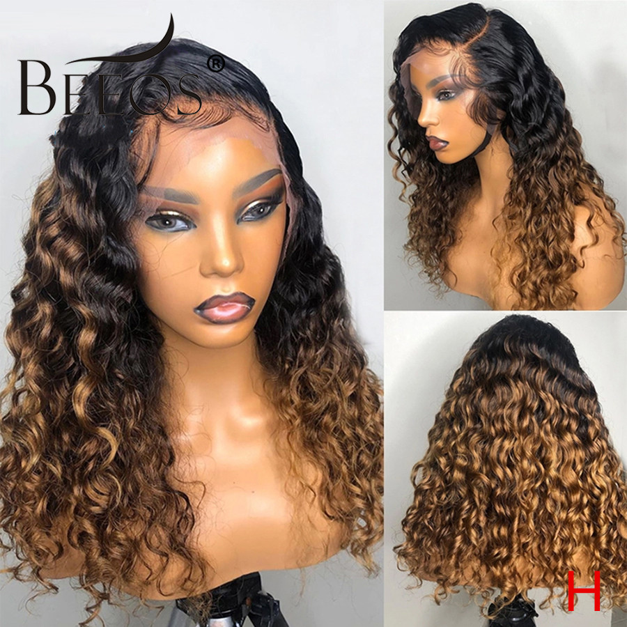 Beeos 180% 360 Lace Front Human Hair Wig Ombre Colored Curly Wigs Pre Plucked With Baby Hair Bleached Knots Brazilian Remy Hair