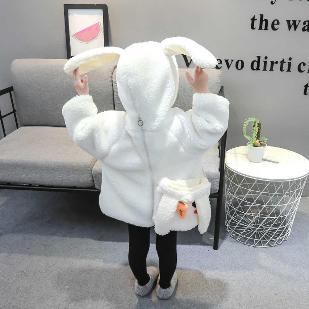 Kış sevimli bebek kız tavşan kulaklar fermuar peluş Hoodie ceket Crossbody çanta seti dinamik tasarım öğeleri çocuk favori hediyeler