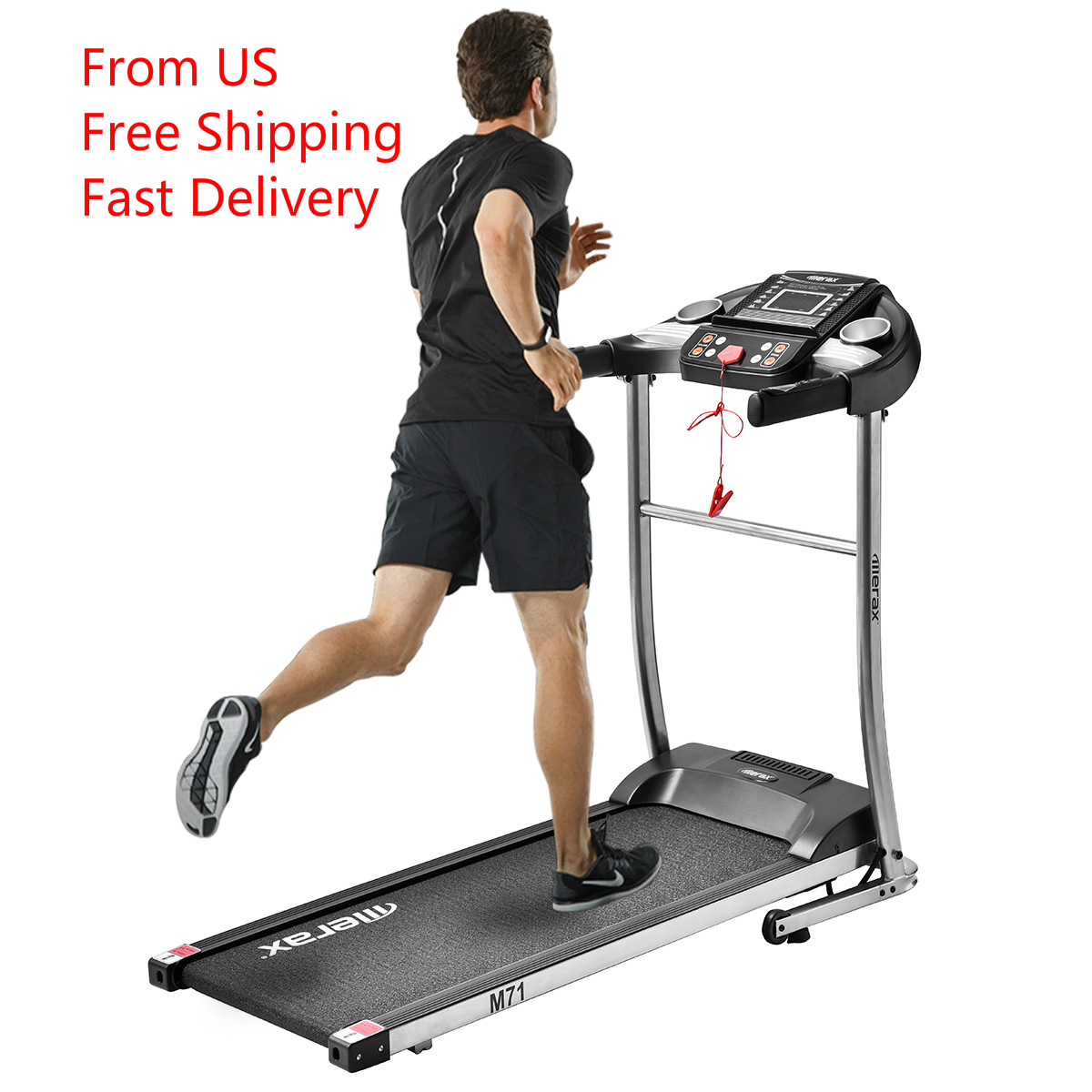 TREXM 0.8-10 KM/H Speed Levels Treadmill Easy Assembly Folding Electric Treadmill Motorized Running Machine With  LED Display