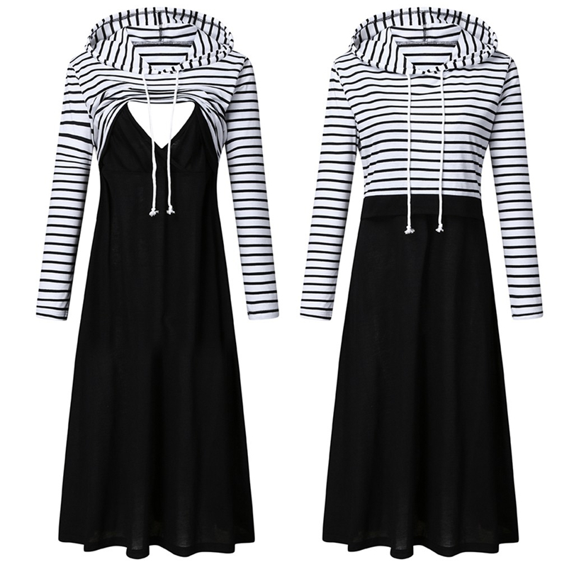 Women's Maternity Hooded Nursing Dress Long Sleeved Striped Patchwork Pregnant Autumn Winter Casual Breastfeeding Dresses A30