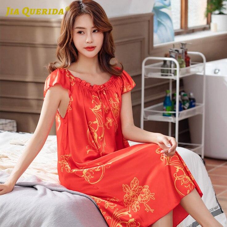 4XL 5XL Soft Night Gown Nighties for Woman Plus Size Lingere Elegant Floral Printing Nighty Women's Pretty Homedress Satin Silk