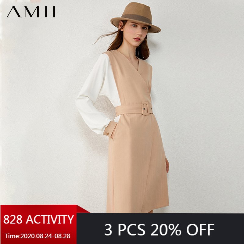 AMII Minimalism Autumn Fashion Olstyle Women Dress Spliced Vneck High Waist Belt Women Dress Knee-length Female Dress 12030436