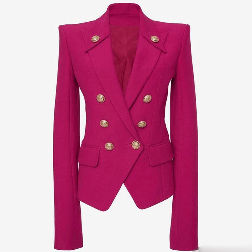 Rode Double Breasted Blazer Vrouwen Kantoor Formele Mentale Knoppen Blazer Plus Big Size Vrouwen Blazers Drop Schip Black