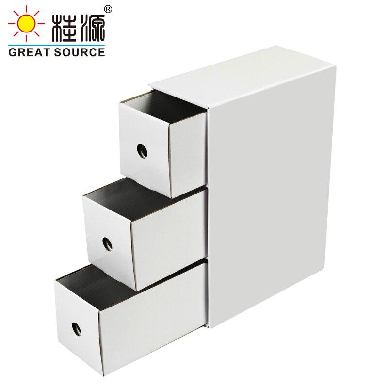 3 Drawers Storage Mini Composable Cabinet Office Corrugate Foldable Home Storage Kraft Paper Environment Friendly(5 PCS)