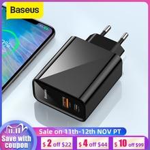 Baseus duplo usb carregador rápido 30w suporte carga rápida 4.0 3.0 carregador de telefone portátil usb c pd carregador qc 4.0 3.0 forxiaomi