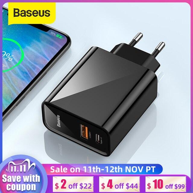 Chargeur rapide USB double Baseus 30W prise en Charge rapide 4.0 3.0 chargeur de téléphone Portable USB C PD chargeur QC 4.0 3.0 ForXiaomi