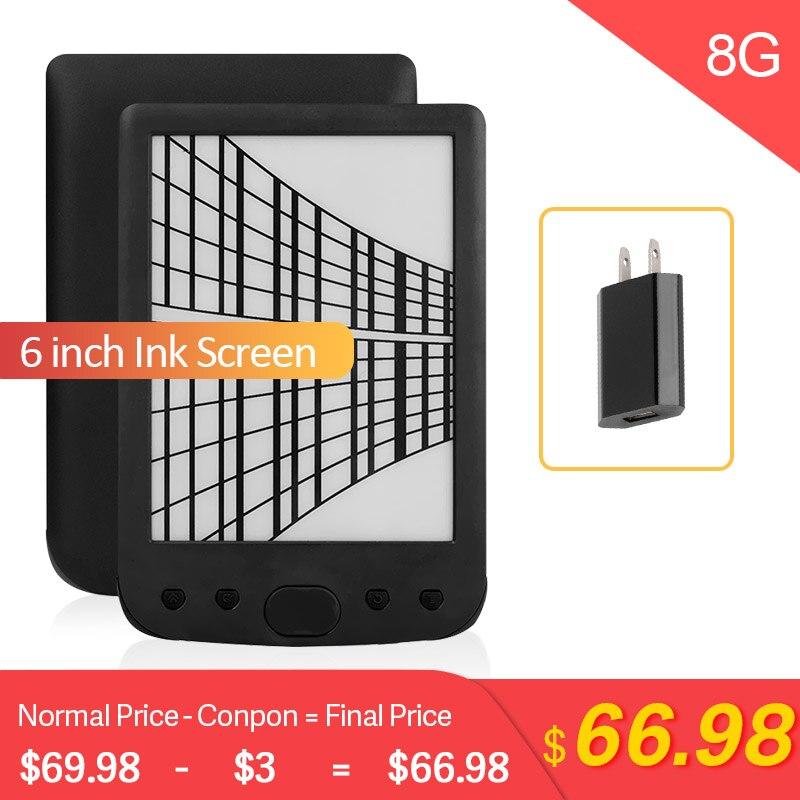 Claite 8G BK-6025 2500mah e-book lecteur e-ink 6 pouces résolution eBook lecteur mémoire ebook (lumière frontale intégrée)