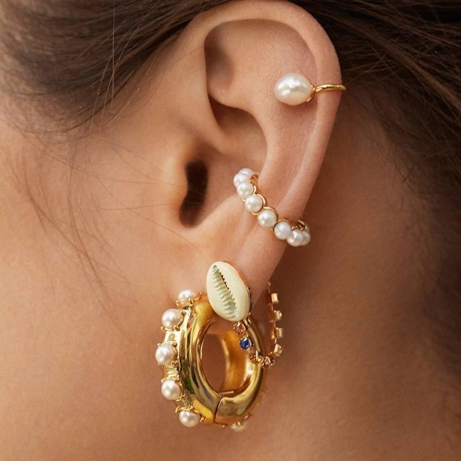 2020 HOT Fashion Pearl Ear Cuff Bohemia Stackable C Shaped CZ Rhinestone Small Earcuffs Clip Earrings For Women Wedding Jewelry