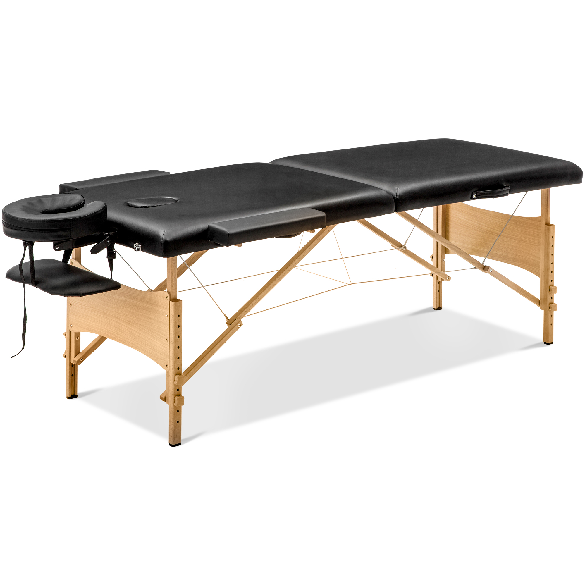 Black Portable Massage Table Free Carry Case  Wooden 2 Section Right Angle Folding Massage Table Camillas Para Masajes Plegable