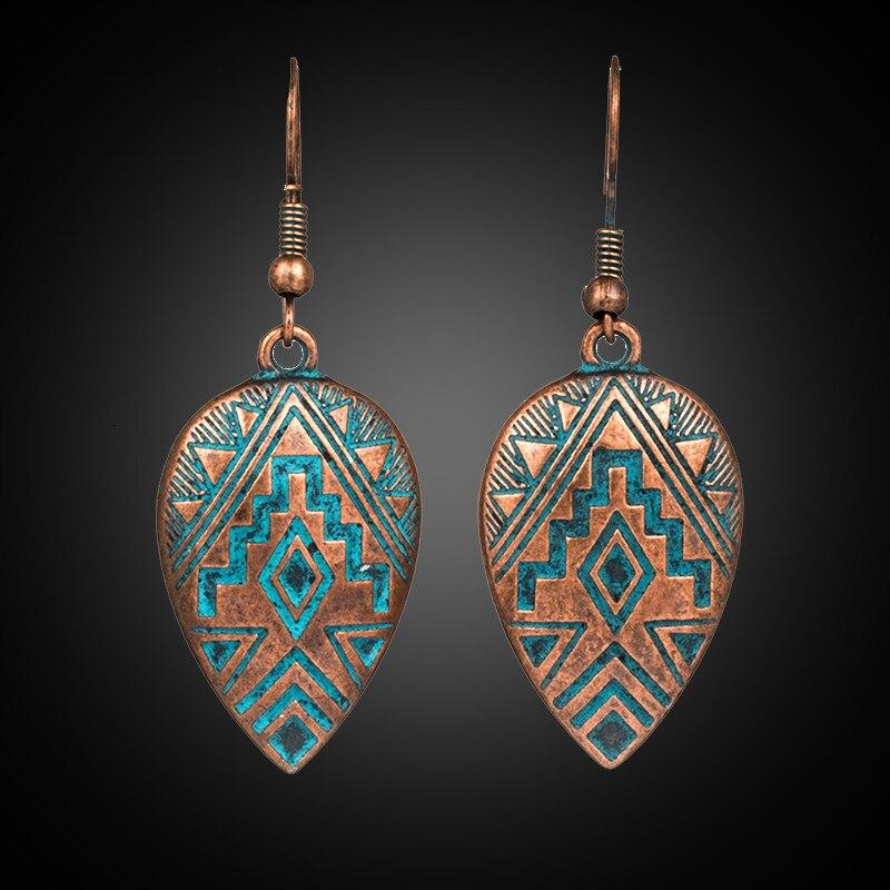 Ethnic Style Women Earrings 2020 Bohemian Vintage Water Drop Carving Dangle Earrings Antique Silver Boho Jewelry Accessories