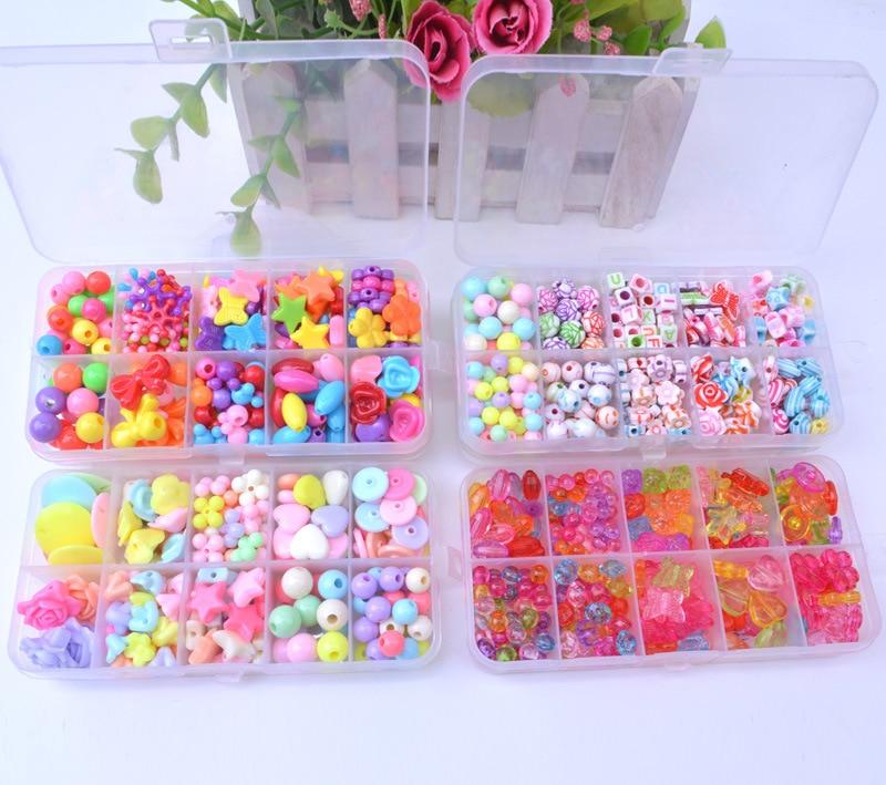 10 Squares DIY Necklace Bracelets Beaded Bracelet For Making Intelligence Toys Set Acrylic Beads Handmade Material Wear Beads