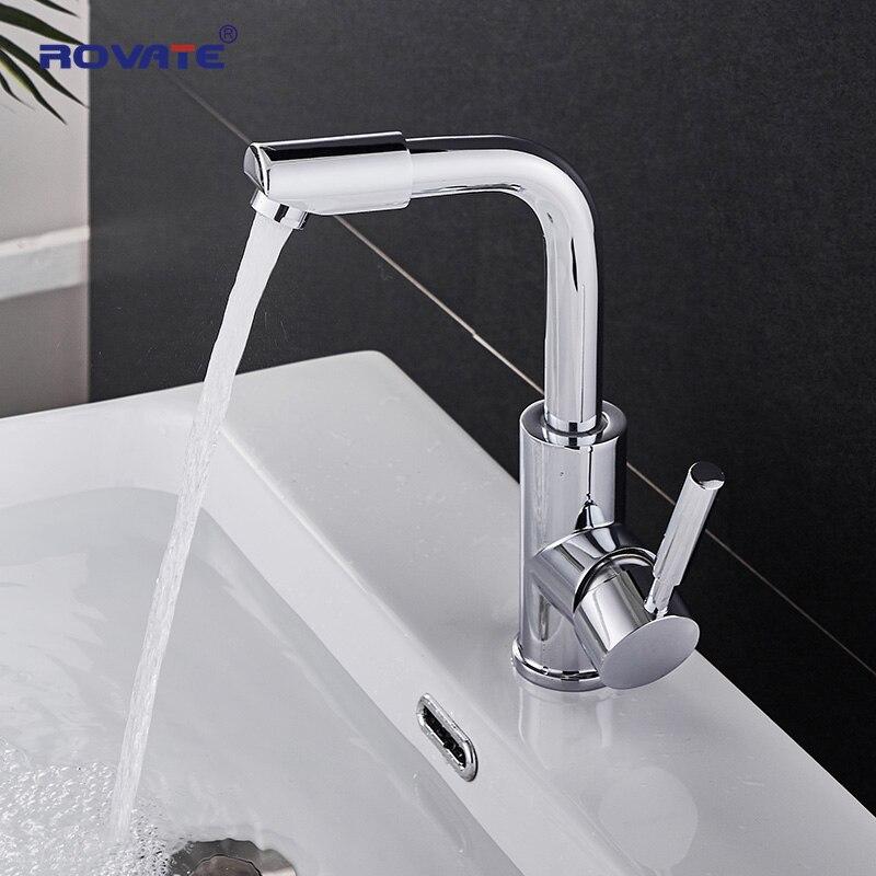 ROVATE 360 градусов Поворотный кран смесителя латунь хром, смесители для раковины ванной комнаты Однорычажный кран холодной горячей чаши