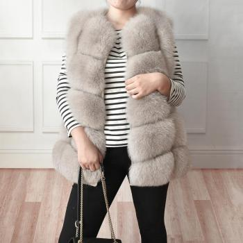 2020 New Women's Winter Real Fur Coat High Quality  Natural Fox Fur Vest Fashion Luxurious Warm Sleeveless Dark buckle jacket