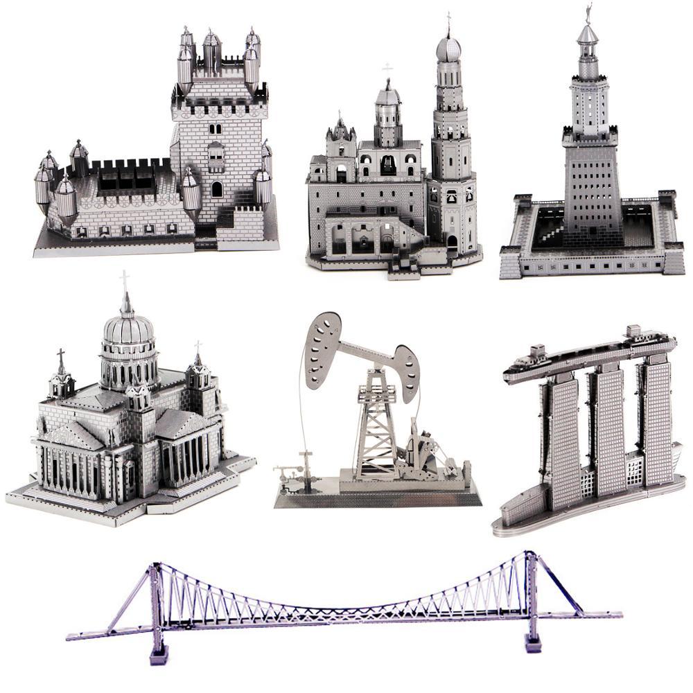 Castle Building 3D Metal Puzzle Model Kits DIY Laser Cut Assemble Jigsaw Toy Desktop Decoration GIFT For Audit Children