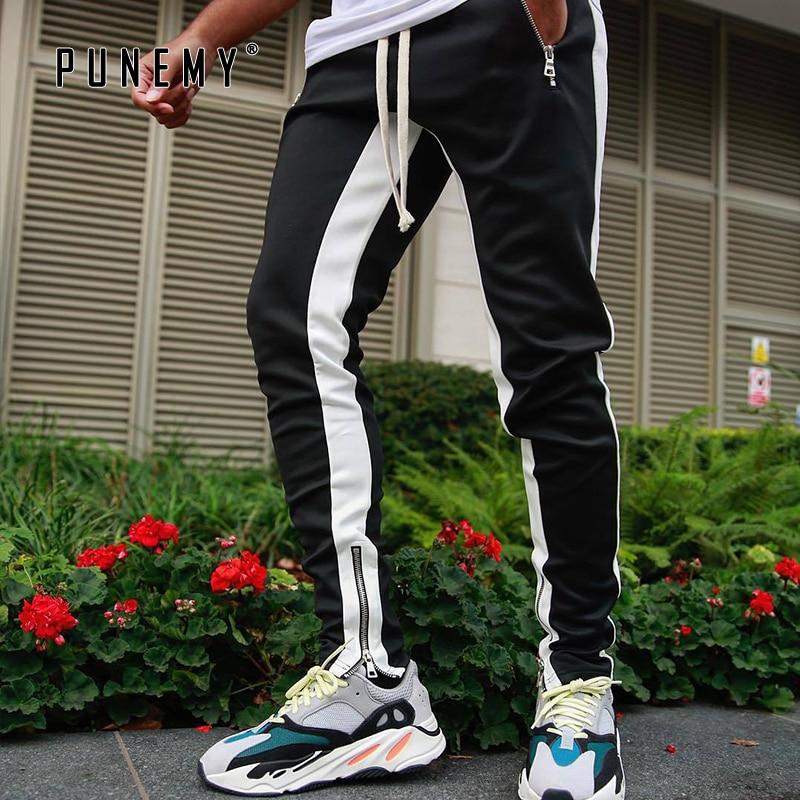 Men Sweatpants Joggers Streetwear Side Striped Drawstring Harem Pants Ankle Zipper Slim Kanye West Hip Hop Men Pants Trousers