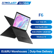 Teclast F6 dizüstü 13.3 inç FHD IPS 1920x1080 Intel Apollo göl Windows 10 dizüstü 8GB LPDDR4 128GB SSD çift Wi-Fi