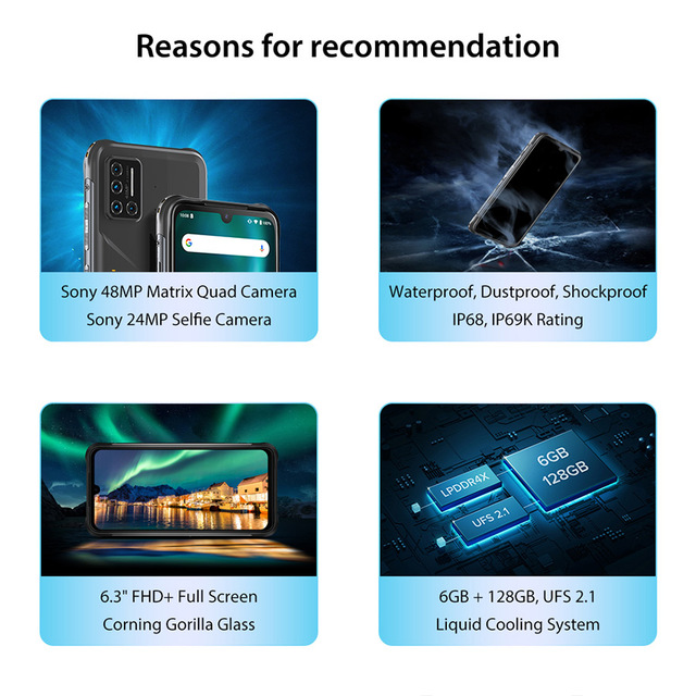 "UMIDIGI BISON 6.3"" FHD+ Display IP68/IP69K Waterproof Rugged Phone 6GB 128GB Smartphone 48MP NFC Android 10 5000mAh Mobile Phone 2"