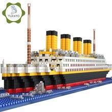 1860pcs 타이타닉 크루즈 선박 모델 다이아몬드 빌딩 DIY 블록 키트 키즈 완구 선물