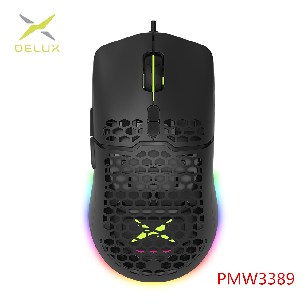 Delux RGB Gaming Mouse Ergonomic-Mice Soft-Rope-Cable Computer-Gamer Honeycomb-Shell