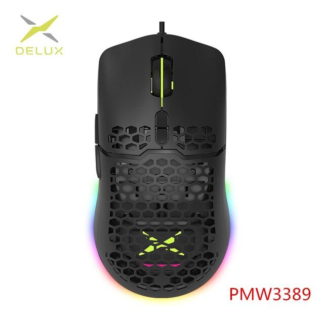 Delux-ratón Gaming M700 PMW3389 RGB, carcasa ligera de nido de abeja, ratones ergonómicos con Cable de cuerda suave para jugadores de ordenador, 67g 1