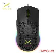 Delux M700 PMW3389 RGB Gaming Maus 67g Leichte Waben Shell Ergonomische Mäuse mit Weichen seil Kabel Für Computer Gamer