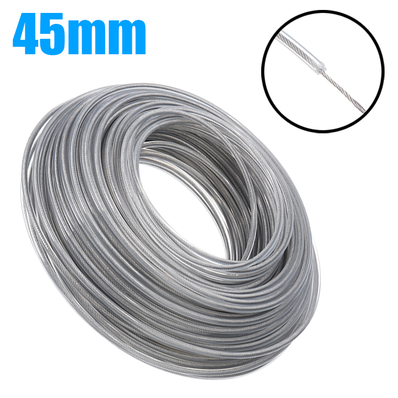 3mmx45m Steel Wire Grass Trimmer Wire Rope Cord Line Strimmer Brushcutter Trimmer Long Round Roll Grass Replacement