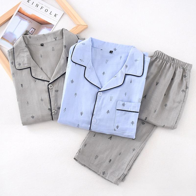 2020 New Men's Long Sleeve Cotton Pajamas Turn-down Collar Elastic Waist Nightwear Thin Casual Men Sleepwear Home Sleeping Suits