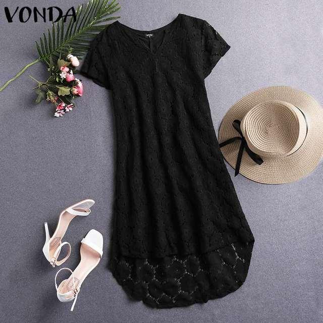 VONDA Summer Solid Dress Sexy Hollow Lace Party Mini Dress Women Bohemian Sundress 2019 Casual Asymmetrical Vestidos Plus Size 3