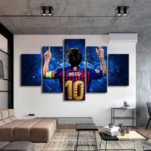 Barcelona 10 Messi Posters Famous Football Stars 5 Pieces Canvas Paintings Wall Art Sports Print Picture Kids Room Decor Frame