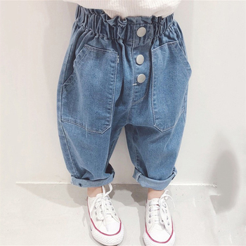 Children's casual loose jeans large pocket design casual fashion jeans long section boys and girls 2 to 8 years old boys contrast pocket jeans