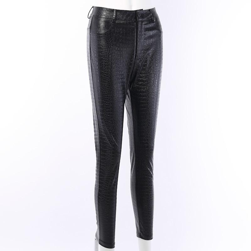 InstaHot Black High Waist Pencil Faux Leather Pants Women Casual Elegant Carving Print Ankle Length Pants Streetwear Trousers 61