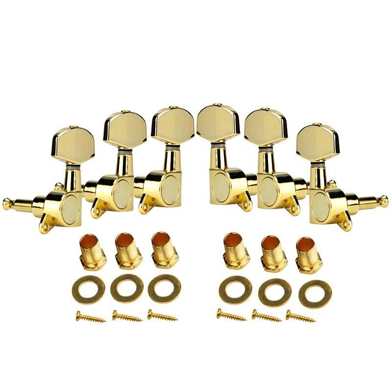 Un ensemble 6 pièces Chrome verrouillé chaîne Tuning chevilles clés accordeurs têtes de Machine pour acoustique guitare électrique serrure Style Schaller - 2