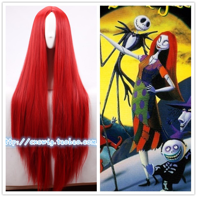 Inhumans Women Medusa Cosplay Red Wig Long Straight Red Hair The Nightmare Before Christmas Sally Wig Hair Costumes