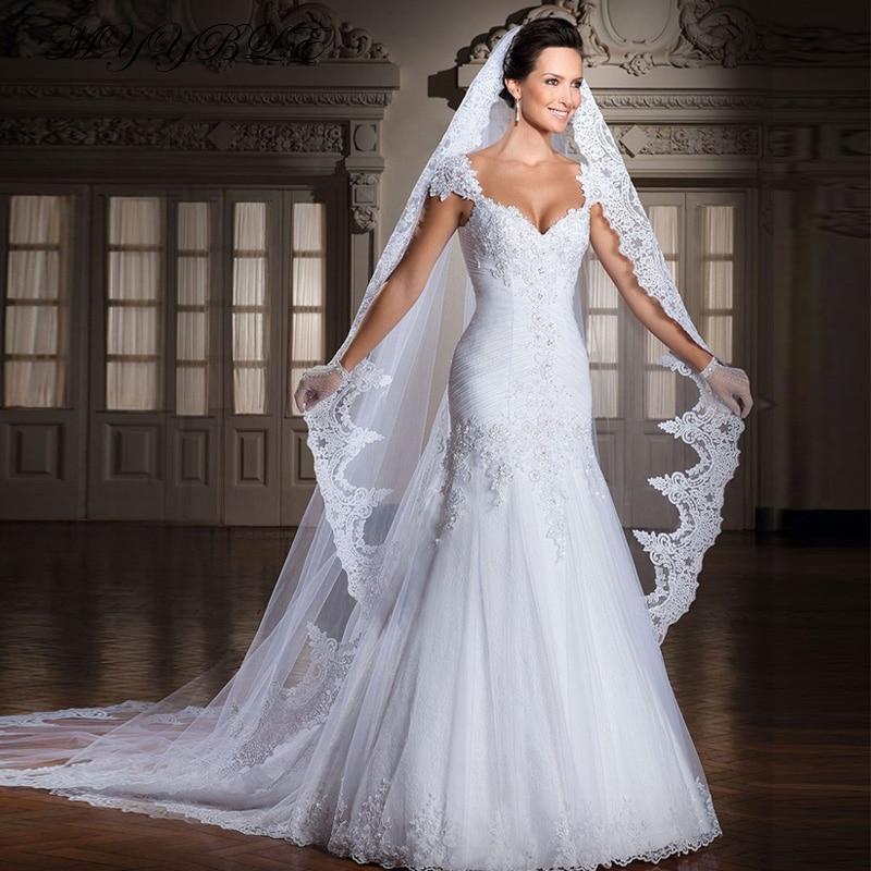 MYYBLE 2020 Designer Lace Appliques V Neckline Cap Sleeves Mermaid Elegant Wedding Dresses Bridal Gowns Vestido de noiva  cheap