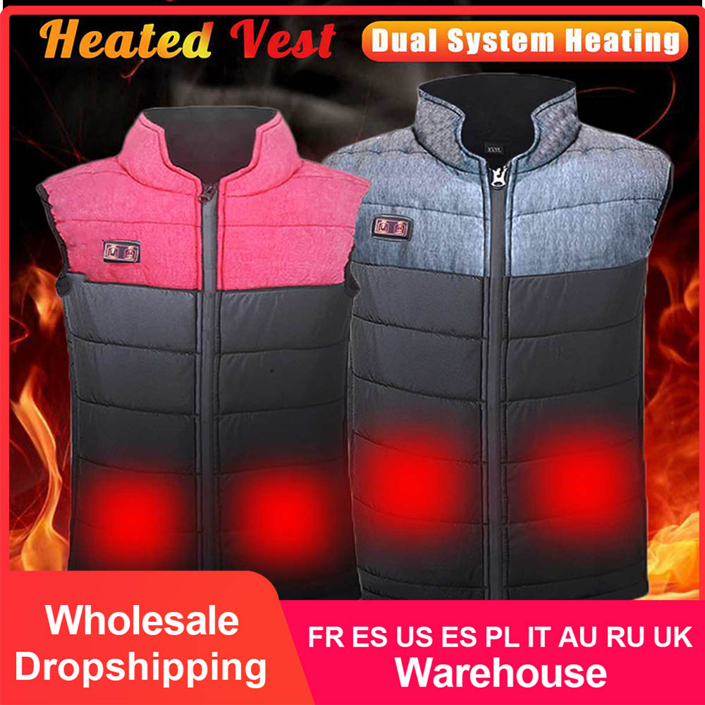 Men Women Outdoor USB Infrared Heating Vest Jacket Winter Clothing Waistcoat Electric Heating Vest For Fishing Hiking