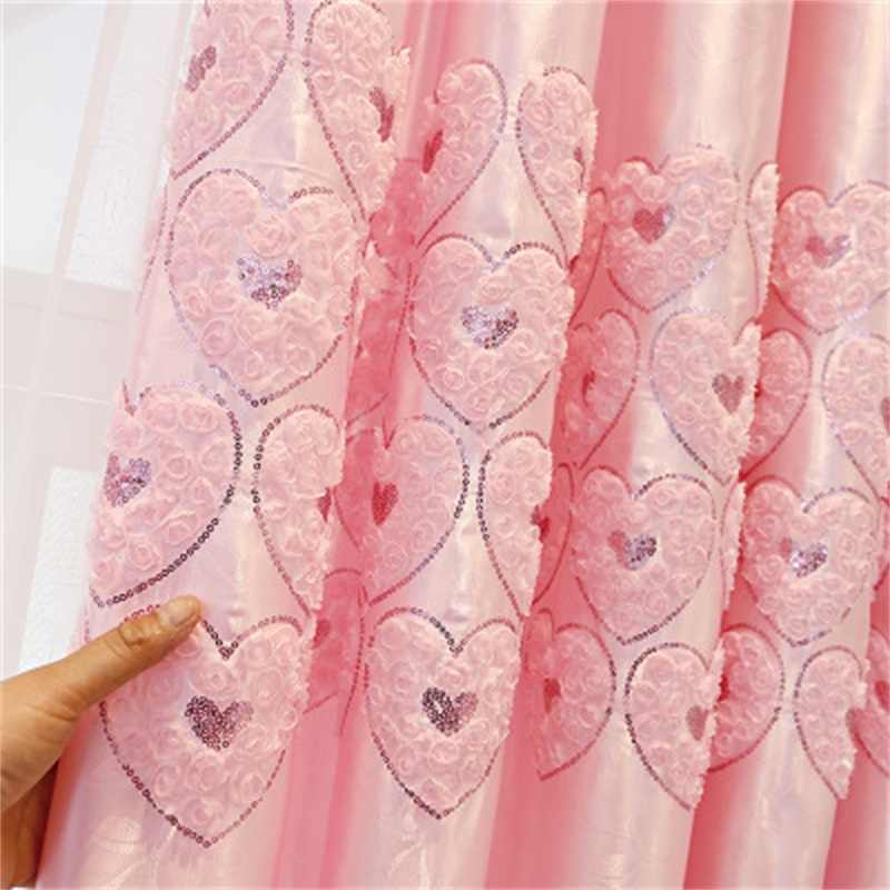 Modern Korean Creative Pink  3D Love Heart Curtains  For Wedding Living Room Bedroom Custom Elegant Jacquard Curtains T236#4